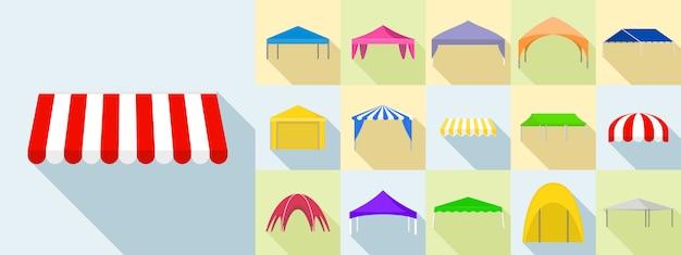 Canopy icons set, flat style