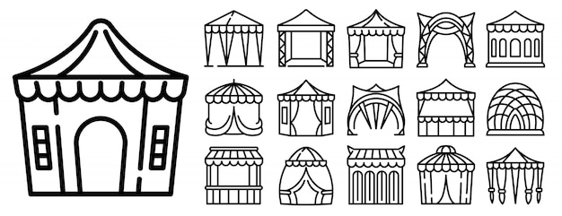 Canopy icons set, outline style