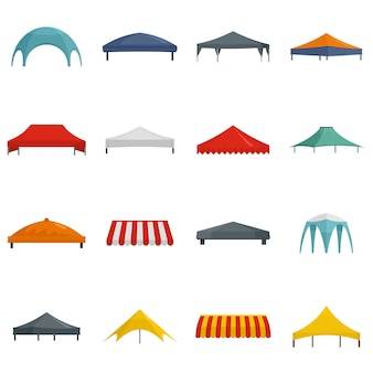 Canopy shed overhang icons set