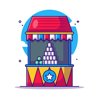 Cans carnival games   cartoon illustration