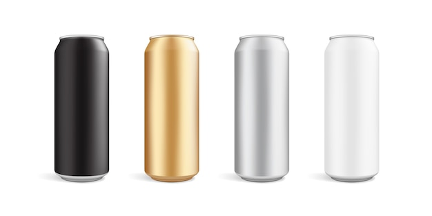 Cans of different colors isolated on white background