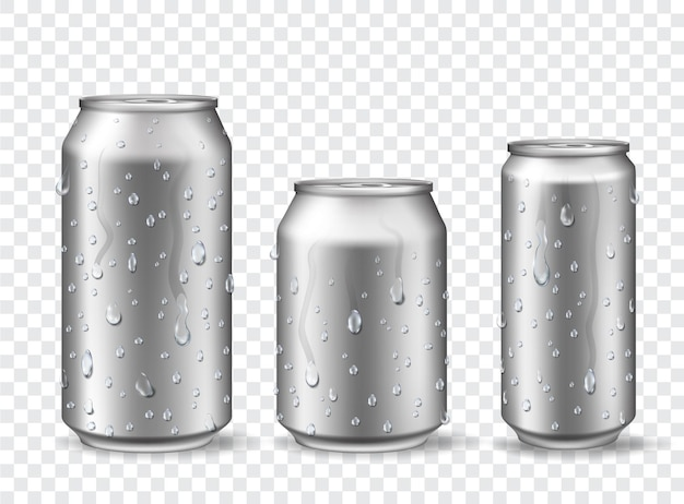 Cans with condensation. cold aluminum beer, energy drink or lemonade can mockups with water drops. 3d realistic metal soda cans vector set. illustration surface metallic alcohol banks