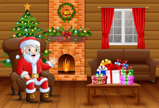 Canta claus sitting in sofa near decorated pine tree