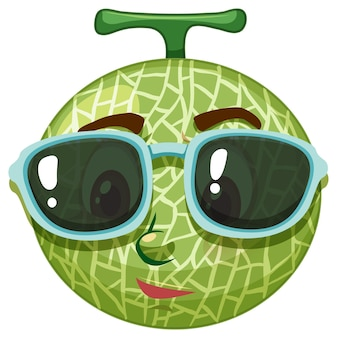 Cantaloupe melon cartoon character with facial expression