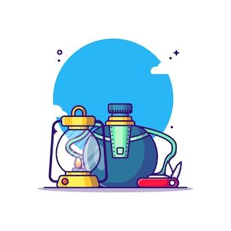 Canteen water lantern and knife cartoon illustration