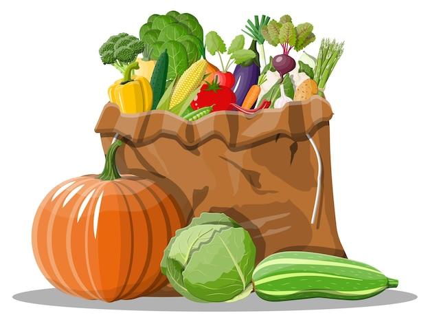 Canvas bag full of vegetables.