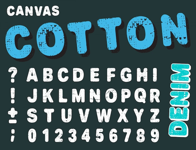 Canvas design numbers and letters. cotton font alphabet template.