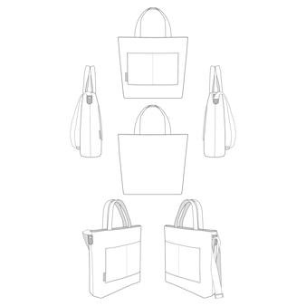 Canvas tote bag fashion flat templates
