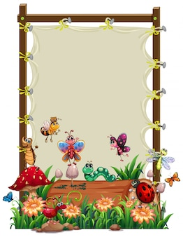 Canvas wooden frame template with animal garden set