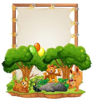 고립 된 파티 테마에 곰과 함께 캔버스 나무 프레임 템플릿