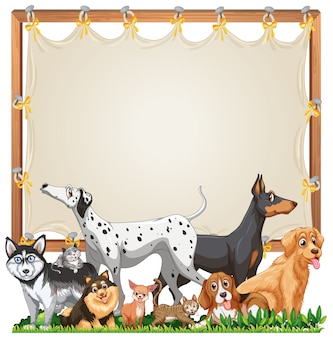 Canvas wooden frame template with cute dogs group isolated