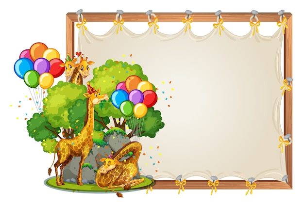 Canvas wooden frame template with giraffes in party theme isolated