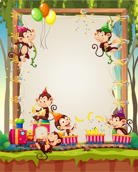 Canvas wooden frame template with monkeys in party theme on forest