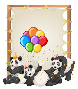 Canvas wooden frame template with pandas in party theme isolated