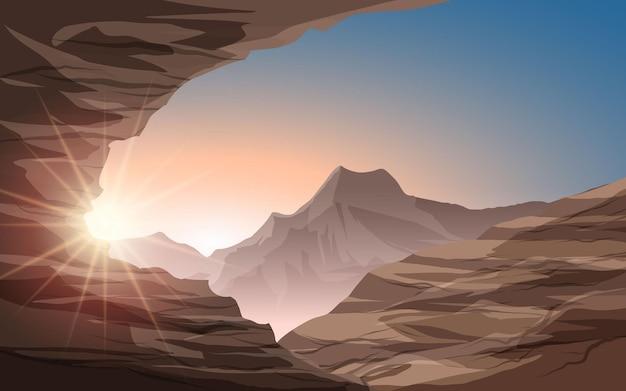 峡谷と山の風景