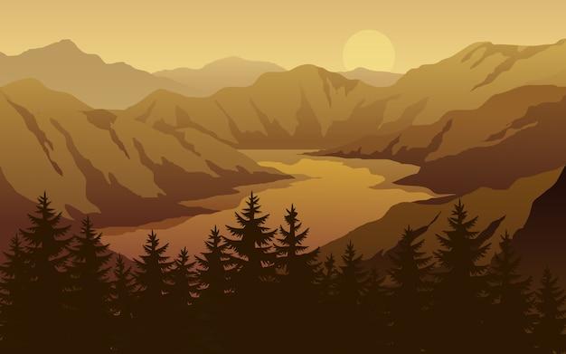 キャニオンと川の夕日の風景