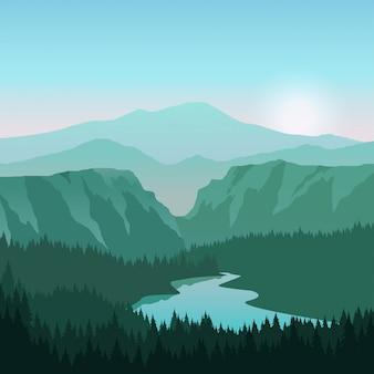 강과 일출과 협곡 풍경