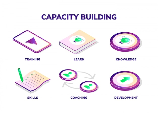Capacity building concept. isometric icons.