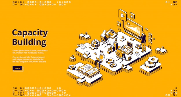 Capacity building isometric landing page.
