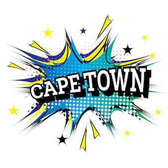 Cape town comic text in pop art style. vector illustration.