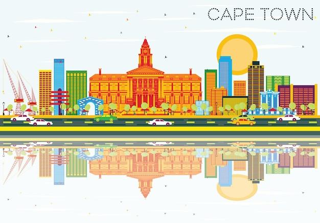 色の建物、青い空と反射のあるケープタウンのスカイライン。ベクトルイラスト。近代建築とビジネス旅行と観光の概念。プレゼンテーションバナープラカードとwebサイトの画像。
