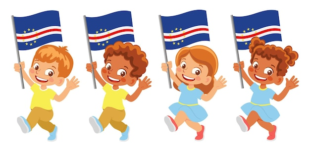 Флаг кабо-верде в руке. дети держат флаг. государственный флаг кабо-верде