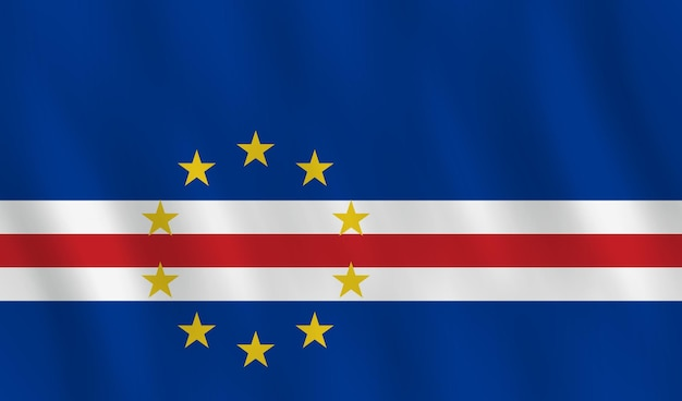 Cape verde flag with waving effect, official proportion.