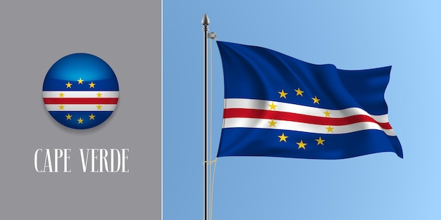 Cape verde waving flag on flagpole and round icon vector illustration. realistic 3d mockup with design of cabo verde flag and circle button