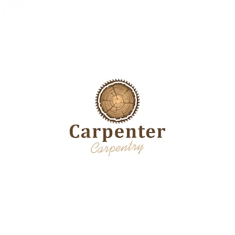 Capenter業界のロゴ、木製ログ丸鋸