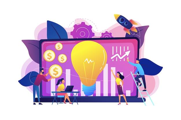 성장 잠재력이 높은 소규모 기업에 자금을 조달하는 자본 기금. 벤처 캐피탈, 벤처 투자, 벤처 파이낸싱, 비즈니스 엔젤 개념. 밝고 활기찬 보라색 고립 된 그림
