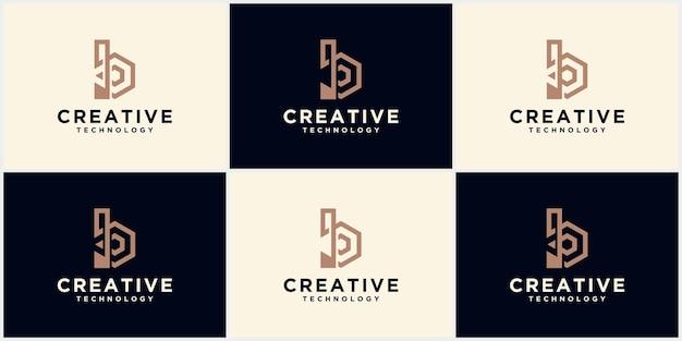 Заглавная буква b технологии, эмблема, логотип и вензель шаблон. буквица b минималистичный арт логотип набор технологии первоначальный логотип b в шаблоне