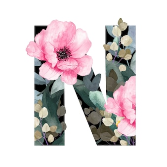 Capital letter n floral style. with flowers and leaves of plants.