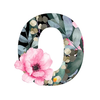 Заглавная буква o в цветочном стиле с цветами и листьями растений