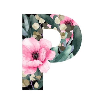 Capital letter p floral style with flowers and leaves of plants