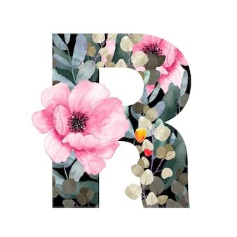 Заглавная буква r в цветочном стиле с цветами и листьями растений