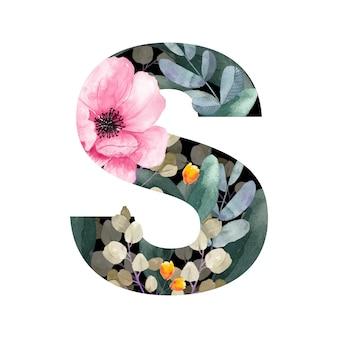 大文字のsフローラルスタイル花と植物の葉