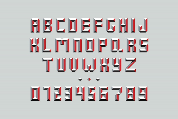Capital letters and numbers with red elements on grey