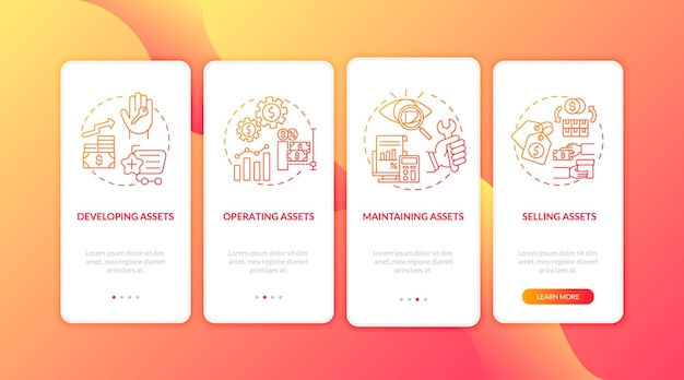개념이있는 모바일 앱 페이지 화면을 온 보딩하는 자본 관리 구성 요소. 자산 관리, 판매는 4 단계 그래픽 지침을 안내합니다. 컬러 삽화가있는 ui 템플릿