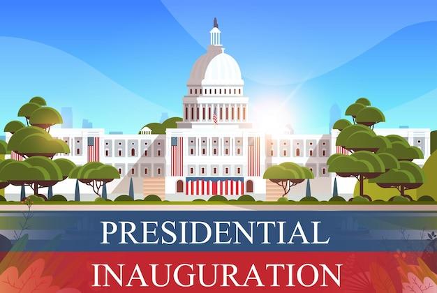 Здание капитолия вашингтон, округ колумбия, сша, день инаугурации президента сша, празднование, поздравительная открытка, горизонтальный баннер, векторная иллюстрация