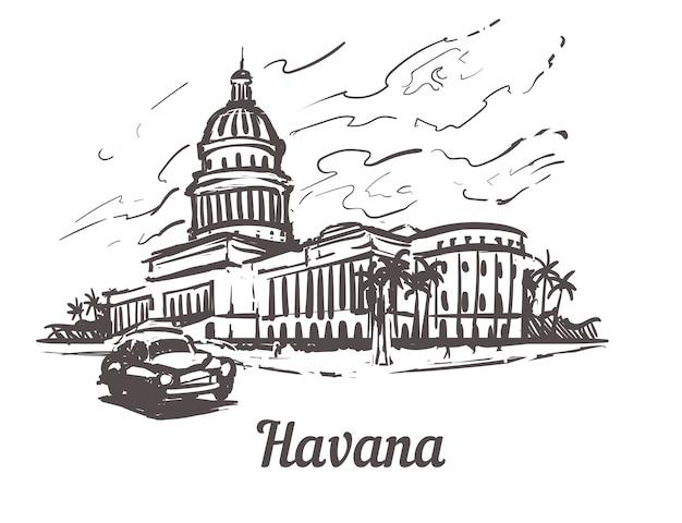 ハバナの街並みの国会議事堂