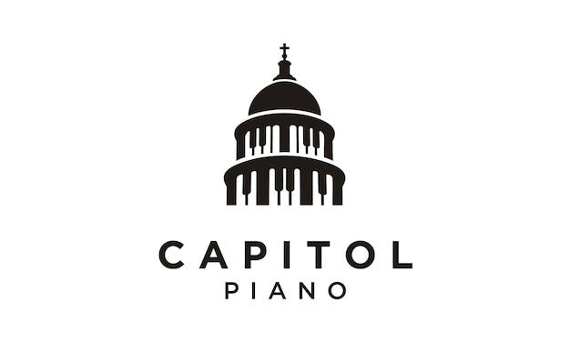 Capitol and piano logo design