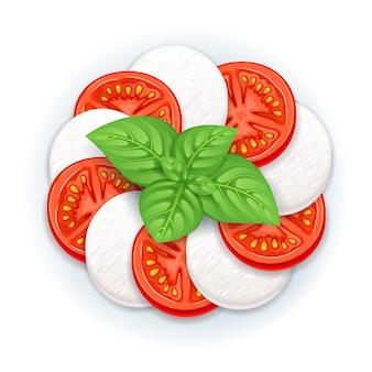 Caprese 샐러드 벡터-모짜렐라, 토마토 및 바질 잎.