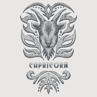 Capricorn vintage vector illustration