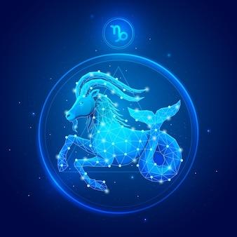 Capricorn zodiac sign in circle