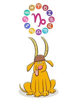 Capricorn zodiac sign with cartoon dog