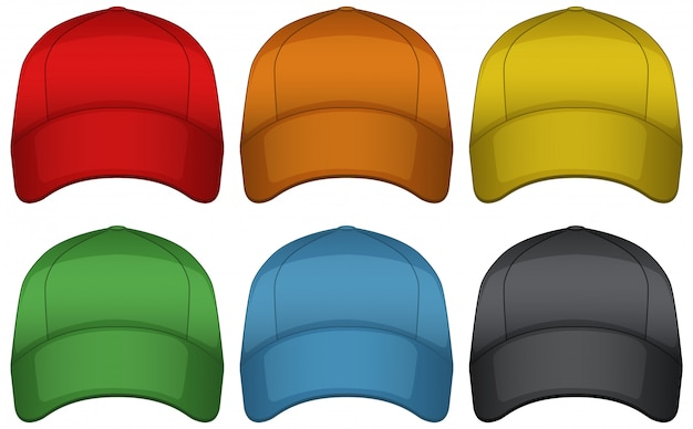 Caps in six different colors