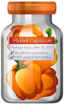 Capsicum preserve in glass jar