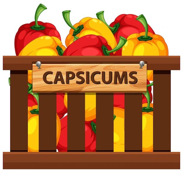 Capsicums in wooden crate