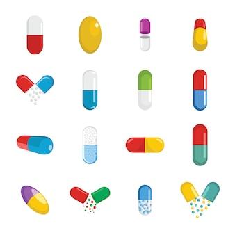 Capsule pill medicine icons set