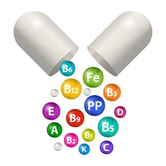 캡슐 알약 비타민 보충제 세트. 건강을위한 3d 거품 종합 비타민 복합체. 비타민 a, b1, b2, b3, b5, b6, b9, b12, c, d, e, k, pp.